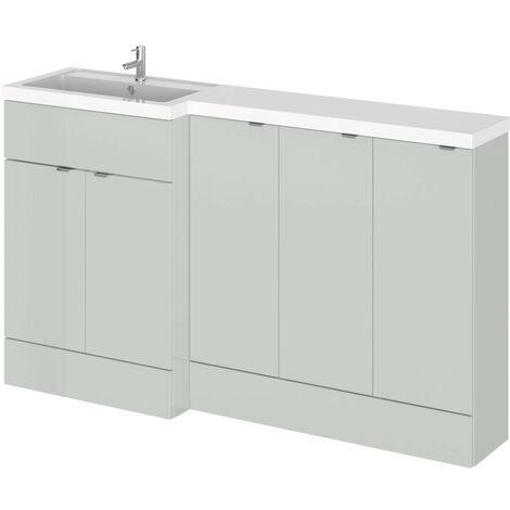Hudson Reed Gloss Grey Mist 1500mm Full Depth Combination 5 Door Vanity Storage Unit with Left Hand Basin - CBI417