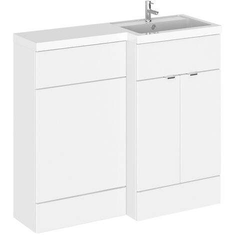 Hudson Reed Gloss White 1000mm Full Depth Combination Vanity & Toilet Unit with Right Hand Basin - CBI127
