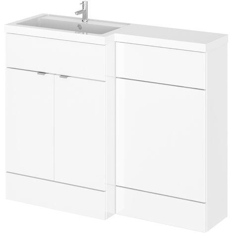 Hudson Reed Gloss White 1100mm Full Depth Combination Vanity & Toilet Unit with Left Hand Basin - CBI102