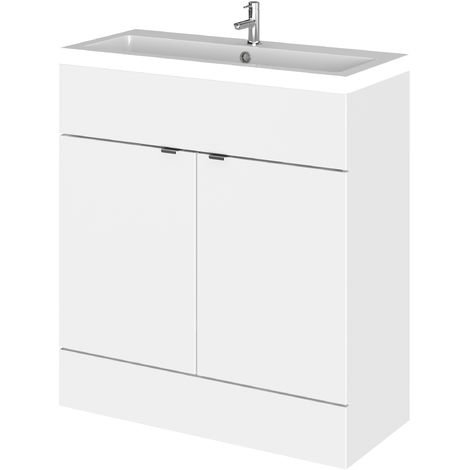 Hudson Reed CBI128 Fusion | Floor Standing Bathroom Vanity Basin Sink Unit With Storage, 800mm, Gloss White