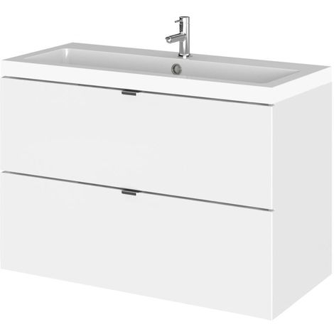 Hudson Reed Gloss White 800mm Wall Hung Full Depth 2 Drawer Vanity Unit with Basin - CBI131