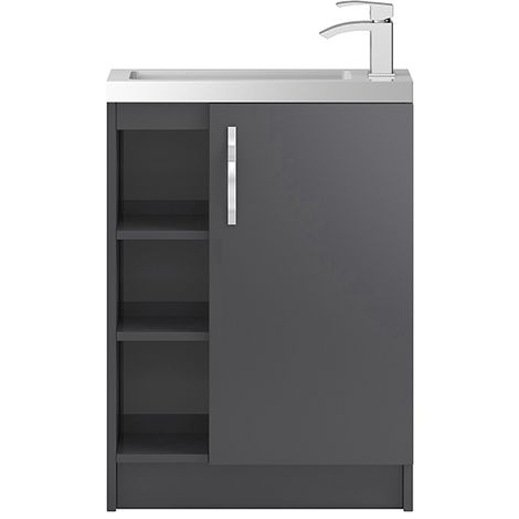 Hudson Reed Grey Apollo Compact Floor Standing 600mm Cabinet & Basin With Shelves - APL476C