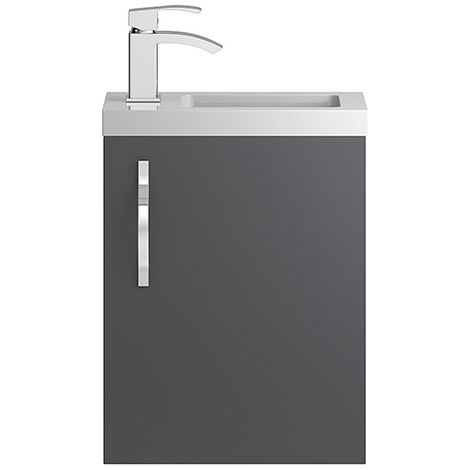 Hudson Reed Grey Apollo Compact Wall Hung 400mm Cabinet & Basin - APL432C