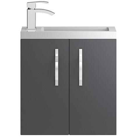 Hudson Reed Grey Apollo Compact Wall Hung 500mm Cabinet & Basin - APL434C
