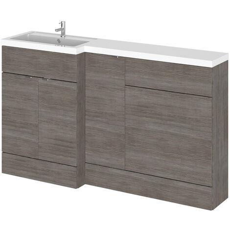 Hudson Reed Grey Avola 1500mm Full Depth Combination Vanity, Toilet and Storage Unit with Left Hand Basin - CBI513
