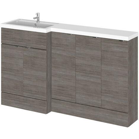 Hudson Reed Grey Avola 1500mm Full Depth Combination Vanity, Toilet and Storage Unit with Left Hand Basin - CBI517