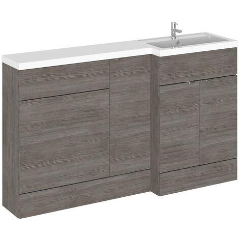 Hudson Reed Grey Avola 1500mm Full Depth Combination Vanity, Toilet and Storage Unit with Right Hand Basin - CBI514
