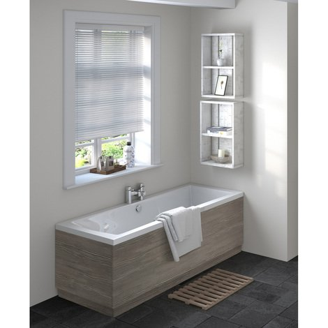 Hudson Reed Grey Avola 1700mm Front Bath Panel with Plinth - OFF578