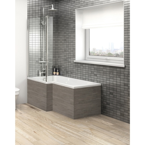 Hudson Reed Grey Avola Square Shower Bath End Panel 680mm - OFF579