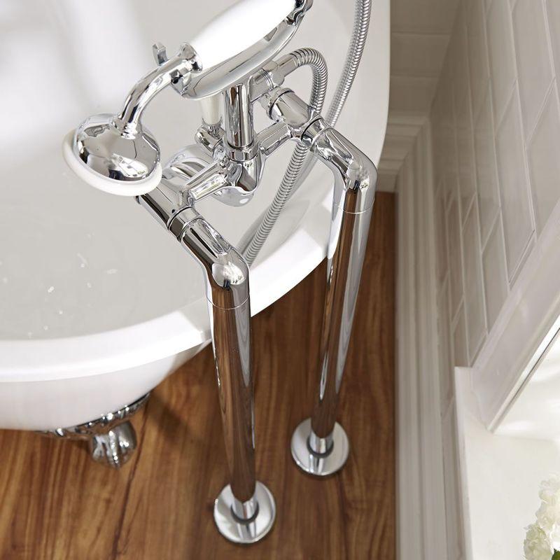 Milano Hudson Reed Barra Reggitenda Rotonda per Vasche da Bagno Freestanding Ottone Solido Cromato /Ø825mm