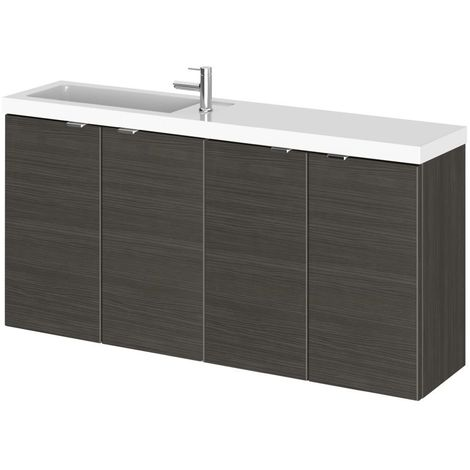 Hudson Reed Hacienda Black 1000mm Wall Hung Slimline 4 Door Vanity Unit with Basin - CBI643
