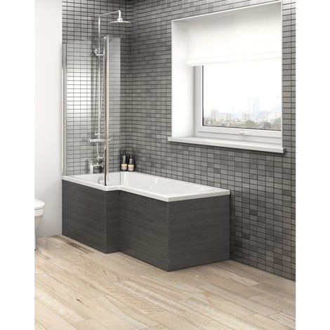Hudson Reed Hacienda Black Square Shower Bath End Panel 680mm - OFF679