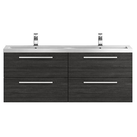 Hudson Reed Quartet Hacienda Black 1440mm Double Cabinet & Basin - QUA003