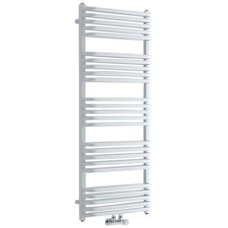 Hudson Reed - Handtuchheizkörper Vertikal Mittelanschluss Weiß 1269mm x 500mm 1123W - Arch
