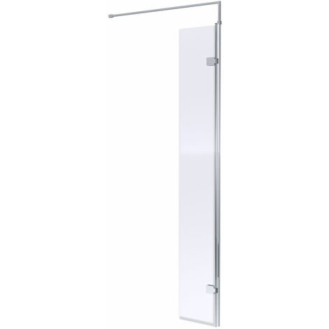 """main image of """"Hudson Reed Hinged Wet Room Return Panel with Support Bar 300mm Wide - 8mm Glass"""""""