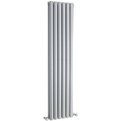 Hudson Reed HLS86 Revive | Modern Bathroom Vertical Designer Double Panel Radiator , 1500mm x 354mm , Gloss Silver