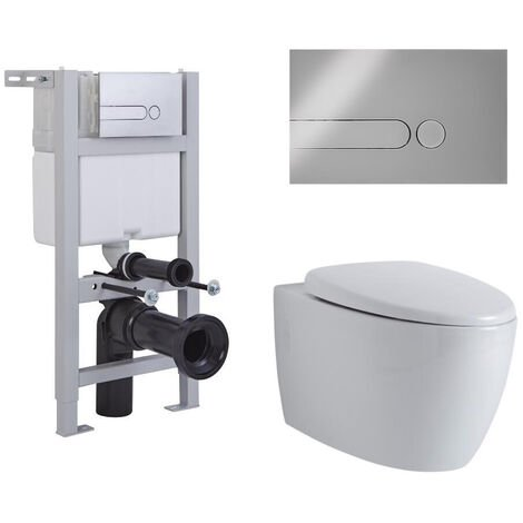 Hudson Reed Kenton - Hänge WC Spülrandlos Oval inkl. Unterbauspülkasten 820mm x 400mm und Betätigungsplatte Rund - Chrom