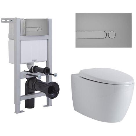 Hudson Reed Kenton - Hänge WC Spülrandlos Oval inkl. Unterbauspülkasten 820mm x 400mm und Betätigungsplatte Rund - Chrom matt