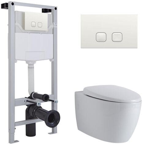 Hudson Reed Kenton - Hänge WC Spülrandlos Oval inkl. Unterputzspülkasten 1150mm x 500mm und Betätigungsplatte Eckig - Weiß