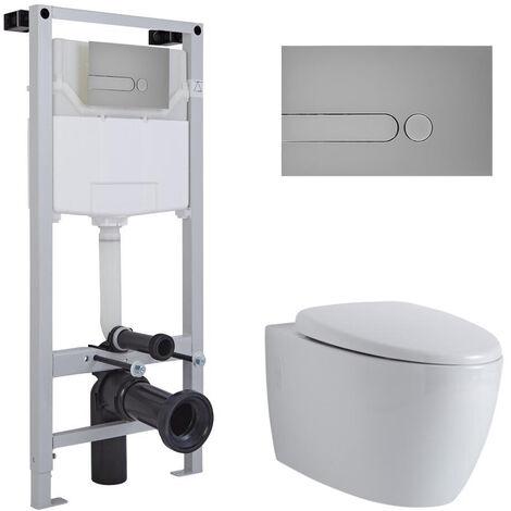 Hudson Reed Kenton - Hänge WC Spülrandlos Oval inkl. Unterputzspülkasten 1150mm x 500mm und Betätigungsplatte Rund - Chrom matt