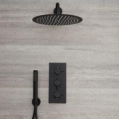 Hudson Reed - Kit de Douche - Mitigeur Thermostatique Encastrable 2 Fonctions, Pommeau de Douche Rond Ø30cm et Douchette - Noir - Nox