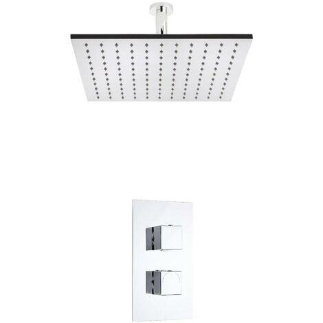 Hudson Reed - Kit de Douche Thermostatique à Encastrer - Design Cubique - Pommeau Plafond 40 x 40CM