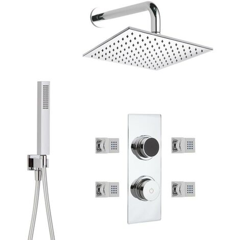 Hudson Reed - Kit de Douche Thermostatique Digital 3 Fonctions avec Pommeau Mural Carré - 4 Buses Massages