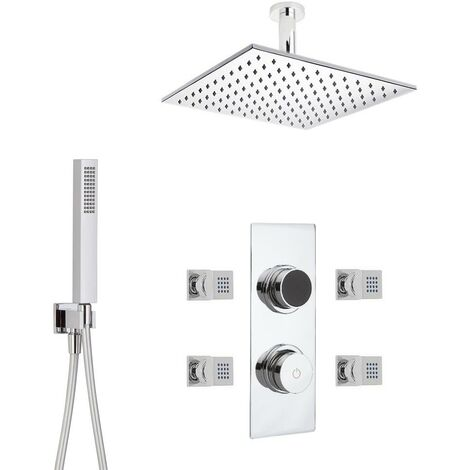 Hudson Reed - Kit de Douche Thermostatique Digital 3 Fonctions avec Pommeau Plafond Carré - 4 Buses Massages