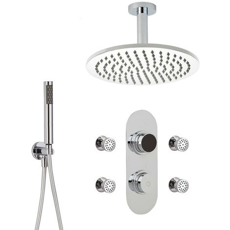 Hudson Reed - Kit de Douche Thermostatique Digital 3 Fonctions avec Pommeau Plafond Rond - 4 Buses Massages