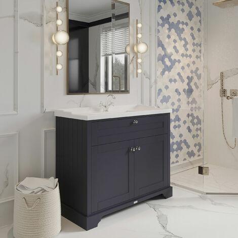 Hudson Reed LOF307 Old London Twilight Blue   1000mm Cabinet & Basin (1TH), Twilight Blue