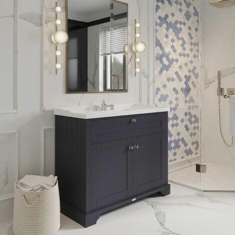 Hudson Reed LOF337 Old London Twilight Blue   1000mm Cabinet & Basin (3TH), Twilight Blue