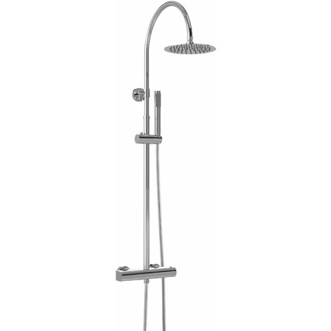 Hudson Reed Luxury Round Thermostatic Bar Mixer Shower with Shower Kit and Fixed Head - Chrome