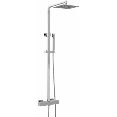 Hudson Reed Luxury Square Thermostatic Bar Mixer Shower with Shower Kit and Fixed Head - Chrome