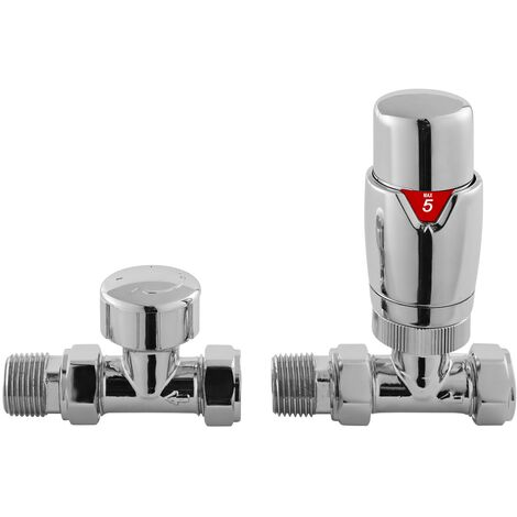 Hudson Reed Luxury Straight Thermostatic Radiator Valves Pair - Chrome