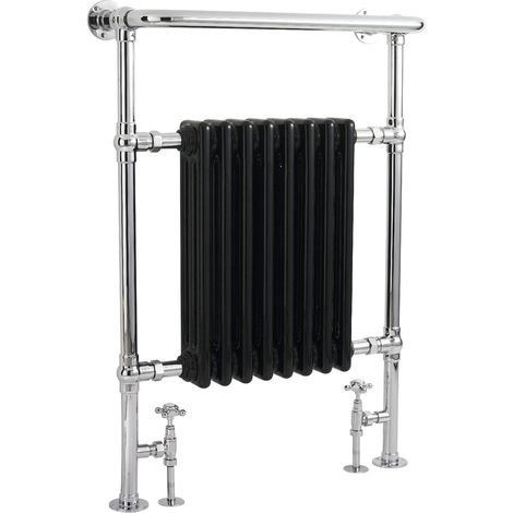 Hudson Reed HT702 Marquis | Traditional Bathroom Victorian Floor Standing Heated Tower Rail, 963mm x 673mm, Black