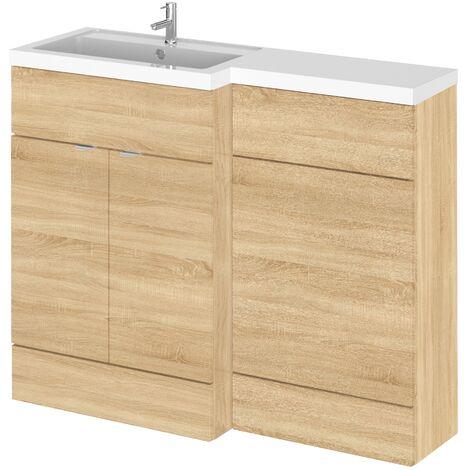 Hudson Reed Natural Oak 1100mm Full Depth Combination Vanity & Toilet Unit with Left Hand Basin - CBI302