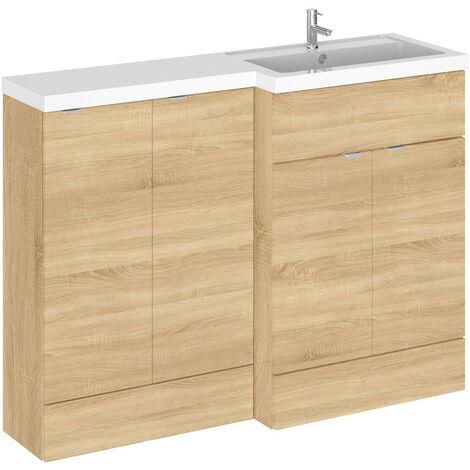 Hudson Reed Natural Oak 1200mm Full Depth Combination Vanity & Storage Unit with Right Hand Basin - CBI312