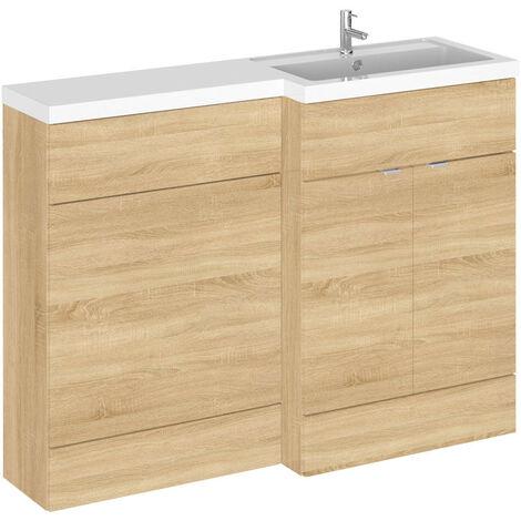 Hudson Reed Natural Oak 1200mm Full Depth Combination Vanity & Toilet Unit with Right Hand Basin - CBI310