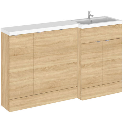 Hudson Reed Natural Oak 1500mm Full Depth Combination Vanity, Toilet and Storage Unit with Right Hand Basin - CBI318