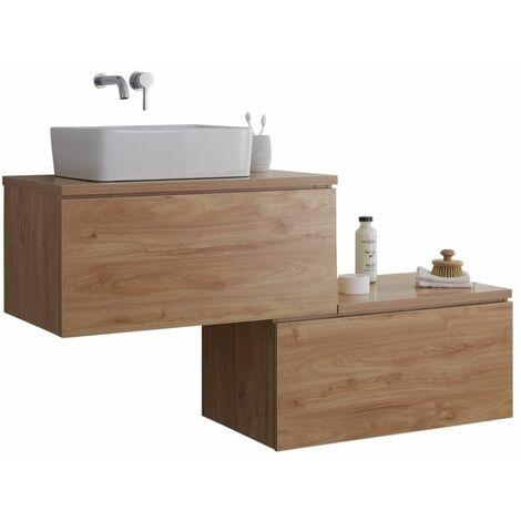 Hudson Reed Newington - Meuble Pour Vasque à Poser Effet Chêne et Blanc avec led en option
