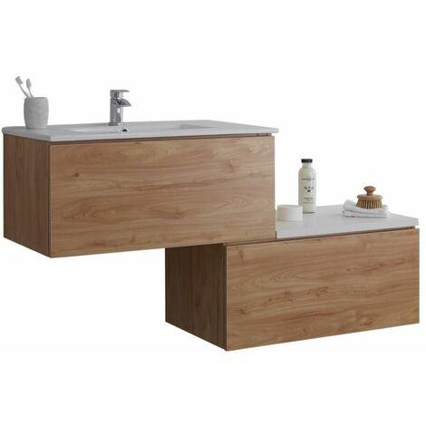 Hudson Reed Newington - Meuble Pour Vasque Pré-Percée Effet Chêne et Blanc avec led en option