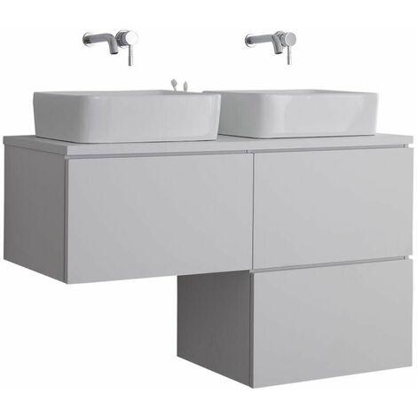 Hudson Reed Newington - Meuble Salle de Bain Moderne Blanc Double Vasques à Poser avec led en option