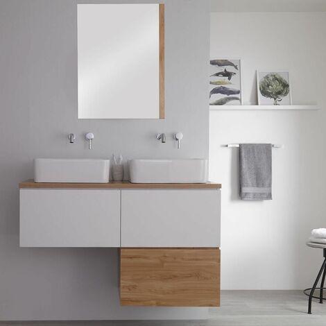 Hudson Reed Newington - Meuble Salle de Bain Moderne Blanc et Chêne Doré Double Vasques à Poser