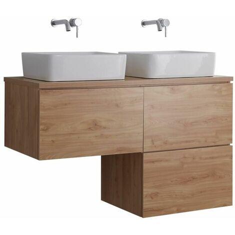 Hudson Reed Newington - Meuble Salle de Bain Moderne Chêne Doré Double Vasques à Poser avec led en option