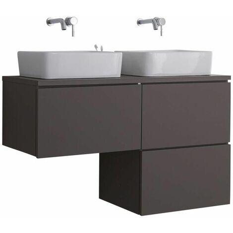 Hudson Reed Newington - Meuble Salle de Bain Moderne Gris Double Vasques à Poser avec led en option