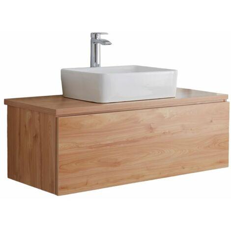 Hudson Reed Newington - Quadratisches Aufsatzwaschbecken mit Unterschrank 1000 mm - Goldeiche