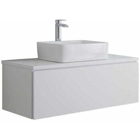 Hudson Reed Newington - Quadratisches Aufsatzwaschbecken mit Unterschrank 1000 mm - Mattweiß