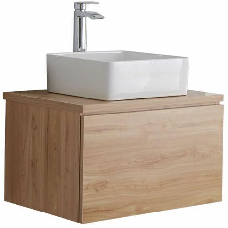 Hudson Reed Newington - Quadratisches Aufsatzwaschbecken mit Unterschrank 600 mm - Goldeiche