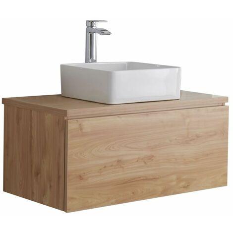 Hudson Reed Newington - Quadratisches Aufsatzwaschbecken mit Unterschrank 800 mm - Goldeiche