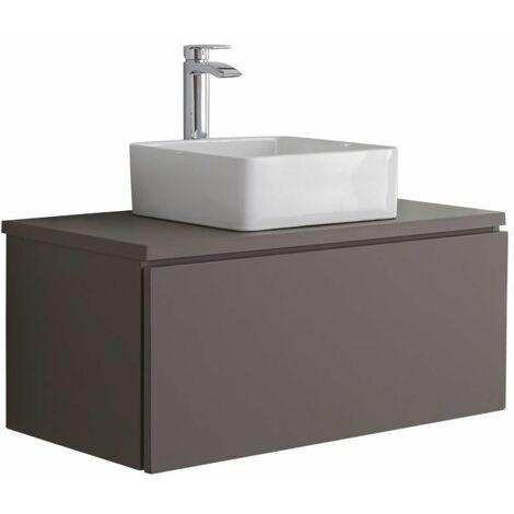 Hudson Reed Newington - Quadratisches Aufsatzwaschbecken mit Unterschrank 800 mm - Mattgrau